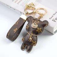 Llavero Luxury Coche Llavero Lindo oso Marca Diseñador de marca PU Cuero de PU 2 piezas