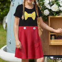 Black and red girls' dresses, short-sleeved printed dresses, children is casual dresses, A-line skirts, over the knee length, simple, elegant and colorful 5-15 years old