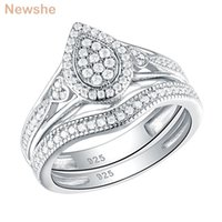 Cluster Rings She 925 Sterling Silver Wedding For Women Pear & Heart Shape Round Cut CZ Engagement Ring Bridal Set Trendy Jewelry