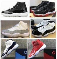 Véritable fibre de carbone 11 élevée argent métallique Concord 45 espace confiture Gym Gym Rouge Midnight Navy Hommes Basketball Chaussures 11S Sneakers avec boîte