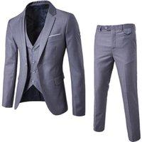 Men's Suits & Blazers 2021 Male Blazer Slim Business Formal Dress Waistcoat Groom Man Suit Exquisite Weeding Office Set Thin