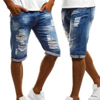 Men's Jeans Sexy Hole Pants Casual Plus Size Vintage Summer Men Ripped Turn Up Cuff Fifth Denim Shorts High Quality Jean