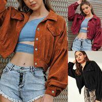 Women's Jackets Women Coat Outwear Corduroy Button Down Long Sleeve Short Casual Jacket Spring Autumn Ladies Girl Outcoats
