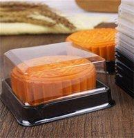 100pcs = 50sets 6.8 * 6.8 * 4 cm Mini Taille Clear Plastic Boxes Muffin Conteneur Food Cadeau Cadeau Emballage Fournitures de mariage 181 V2