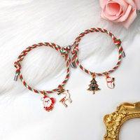 Charm Bracelets Winter Romantic Santa Tree Snowman Elk Pendant Men Women Couple Bracelet Heart-Shaped Magnet Phase Attraction Rope Chain Jew