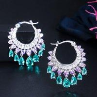 High end Luxury Elegant Purple Blue CZ Crystal Dangle Water Drop Tassel Hoop Earrings Fashion Bridal Wedding Boho Jewelry