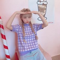Suéteres de mujer CXFS 2021 Spring Women Sweater Vintage Femenino Plaid de manga corta Puntooteres de punto Marca Moda casual O-cuello coreano Tee
