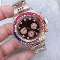 3 Colors High Quality Men Watch Mechanical Automatic Wristwatch Steel Bracelet Full Diamond Bezel Dive Watches 40mm
