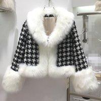 Women's Fur & Faux HIGH STREET Est 2021 Winter Designer Jacket Collar Tweed Houndstooth Coat