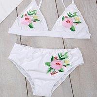 One-Piece Suits Women's Bandeau Rose Floral Beach Wear Swimwear Maillot De Bain Push Up Bikini 2021 Swimsuit Brazilian Bathing