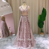 Vintage Lace Pink Long Arabic Evening Gowns For Women Wedding Party Dresses Crystal Dubai Formal Mother Of The Bride Dress Stock