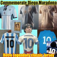 Retro Diego Maradona Argentinien Gedenken an Fussball Jersey 1978 1986 1987 Napoli 1981 Boca Juniors Vintage Classic Football Hemd Kinder Kit Uniform Camiseta MAILLT