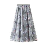 Comelsexy Spring Autumn Dragonfly Embroidery Tulle Women Long Skirts High Waist Chic A-Line Umbrella Mesh Skirt Female 210515