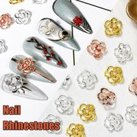 Nail Art Decorations 10Pcs pack Gold Silver Alloy Rose Flower Jewelry Hollow Rhinestones Manicure Drills