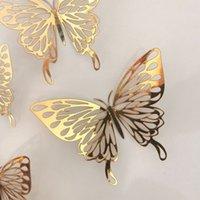3D Métal Texture Papier creux Papillon Stickers muraux 12pcs / Ensemble Salon Chambre à coucher Trois-Dimensionnelle Simulation de la maison Solide Couleur Moderne Simple Décoration Air A15
