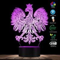 LED Base Night Light Polish Coat of Arms Polska 3D Optical Illusion RGB Bases Lamp Home Decor Patriotic PL Eagle Falcon Novelty Desk Lights