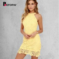 BEFORW Летние висит шеи тонкий женский платье сексуальный без рукавов карандаш ES кружева желтый высокого качества большой размер 210608