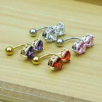 6 colori inverso crystal bar anello pancia oro corpo piercing pulsante ombelico due cuore corpo pierce gioielli 202 r2