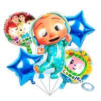 6 st / väska tecknad tillbehör cocomelon ji aluminium film ballonger sexdelar dubbelsidiga barn födelsedagsfest dekorativa ballong g38qlfx