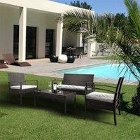 4 pz / Set Rattan Arredamento per esterni Set da giardino Sedie a terrazza Sedile Sedile Tavolo da caffè Sofà