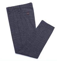 Pantalones de vestir de lana de tela escocesa británica de los hombres Tweed Ocio regular Algodón Caballero Male Gentleman Pantalón de Negocios para Boda Groomsmen