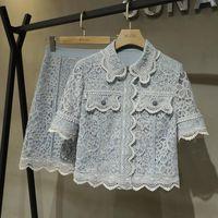 Verano moda diseñador pista mujer vestido de encaje 2 set azul azul hueco hacia fuera camisa superior alta cintura una línea dulce falda