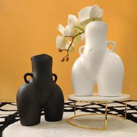 Art Tabletop Vase Body Bust Statue Ceramic Vases Crafts Figurines Resin Flower Arrangement Home Decoration Accessories Modern