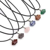 Mini hexagonal prisma helande kristallen energi sten kvarts hängsmycke halsband mode kvinnor män smycken grossist c3