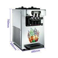 Dondurma Yapma Makinesi Üç Tatlar Masaüstü Ticari Yumuşak Küçük Üç Renkli 220 V