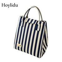 Bolso de almuerzo de aislamiento térmico de lámina de aluminio grueso para mujer Raya Oxford Cooler Bag impermeable Niños Caja de almuerzo Bolso de picnic 210309