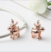 Plaqué d'or rose Happy Reindeer Charm Perle avec CZ Fit Pandora Charm Bracelet Collier PS2807