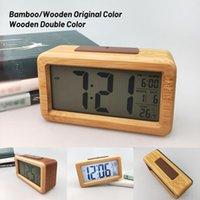 Réveil numérique en bois, Capteur Night Light avec snooze Date Horloge Température LED Montre montre Table murale horloges murales