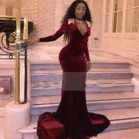 Burgundy Velvet Prom Dresses Modest Arabic Africa V Neck Long Sleeves Appliqued Formal Evening Party Gowns Custom Made Plus Size