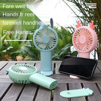 2021 new cartoon handheld Fan USB charging desktop mobile phone bracket student office portable small fan