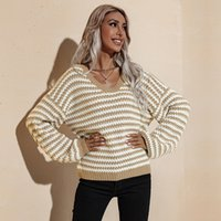 Womens Knits tees 2021 Autumn and Winter Fashion Large V-neck Loose Slimming Pullover Sweater