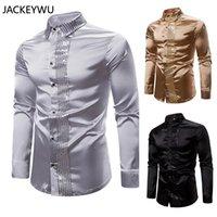 Men's Pants Shiny Gold Sequin Splice Black Silk Dress Shirt Men Long Sleeve Disco Party Casual Shirts Male Nightclub Prom
