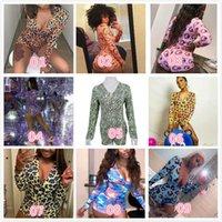 Frauen Jumpsuits Designer Kurzer Strampler Pyjama Onesies Bodysuit Training Button Liebe Leoparden Gedruckt V-Neck Damen Nachtwäsche Plus Größe