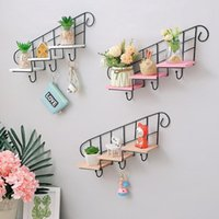 Hooks & Rails Decorative Shelves Wooden Iron Storage Holders Nordic Style Stair Type Shelf Flower Pot Wall Hanging Decoration Living Room