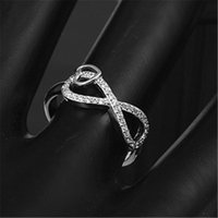 Cluster Rings Silver Ring Fashion Exquisite Temperament Female Figure Eight Twisted Inlaid Zircon Opening Hand Jewelry