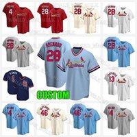 St. Louis Cardinal Baseball Jerseys 28 Nolan Arenado Jersey 46 Paul Goldschmidt 4 Yadier Molina 1 Ozzie Smith 25 Dexter Fowler Homem Personalizado
