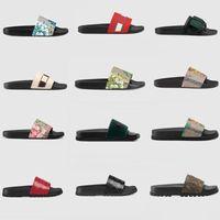 Diseñadores para mujer Zapatillas Sandalias para hombre Chanclas Diapositivas Brocado Fondos planos a rayas Playa Plataforma al aire libre Mocasines Zapatos con caja