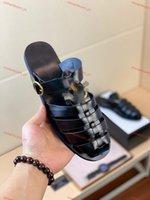 gucci slippers Top Hombre Sandalias Gladiador Summer Playa Pisos Zapatos Ladies Abre Toe Romano Sandalias Negras Sandalias Grandes Tamaño 38-46