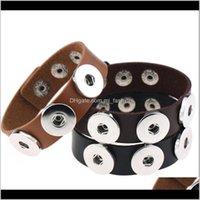 Jóias pedaço de couro punk pulseira de couro apto para botão charme braceletes intercambiáveis noosa endurecer pulgles entrega 2021 3tjum