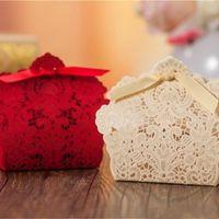 Cadeau wrap boîte laser coupure creuse dentelle fleur blanche or rouge candy boîtes de mariage gwd5843