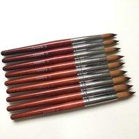 Nail Art Kits 1pcs 10#12#14#16#18#20#22 Round Sharp 100% Kolinsky Sable Drawing Painting Brush Red Wooden Gel Acrylic Salon Tools