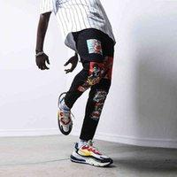 Men's Jeans Calça jeans masculina estampada com design senho, calça casual, caveira, lápis, alta qualida, roupa rua, skate, neutra 42HD