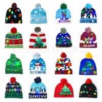 16 Estilo LED Christmas Halloween de malha chapéus Kids Baby Moms Inverno Quente Beanies Abóbora Bonecos De Neve Crochet Caps
