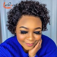 Lace Wigs Pixie Bob Invisible Transparent Frontal Human Hair Kinky Curly Swiss 4x4 Natural Color Pre Plucked Bleached Knots 13X2