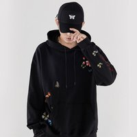 Men's Hoodies & Sweatshirts Hip Hop Harajuku Streetwear Hoodie Sweatshirt Mens Embroidery Butterfly Floral Pullover Cotton Casual 2021 Autum