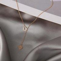 Chains Simple Gold Color Vintage Heart Long Pendant Choker Necklace Jewelry Women Fashion Female Chain Jewellery Bijoux Femme 2021